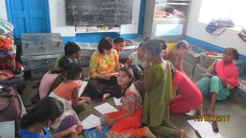 Krishna inmidst of eager pupils
